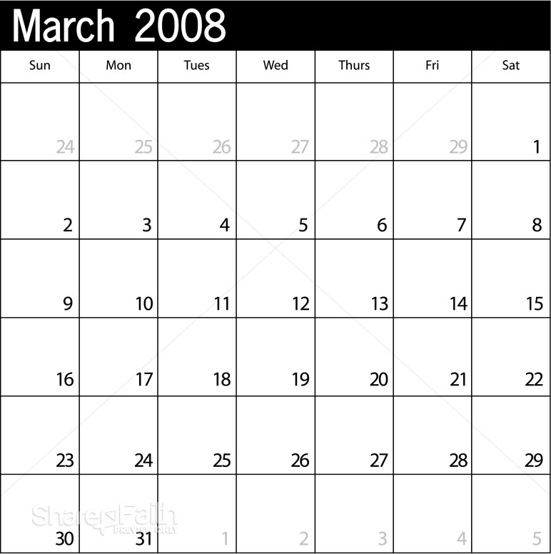 blank calendar pages. march lank calendar