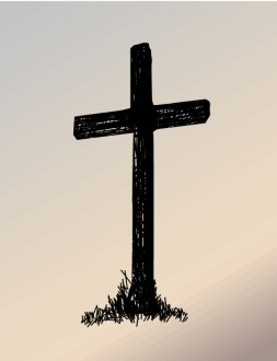 Cross in Ink with Background
