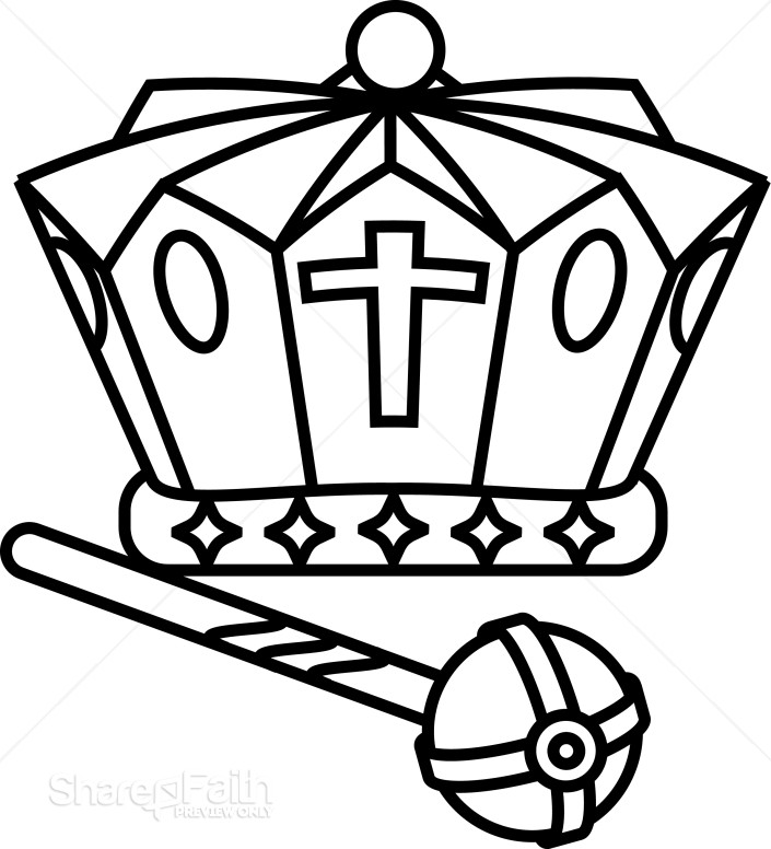 Black and White Crown and Scepter | Crown Clipart