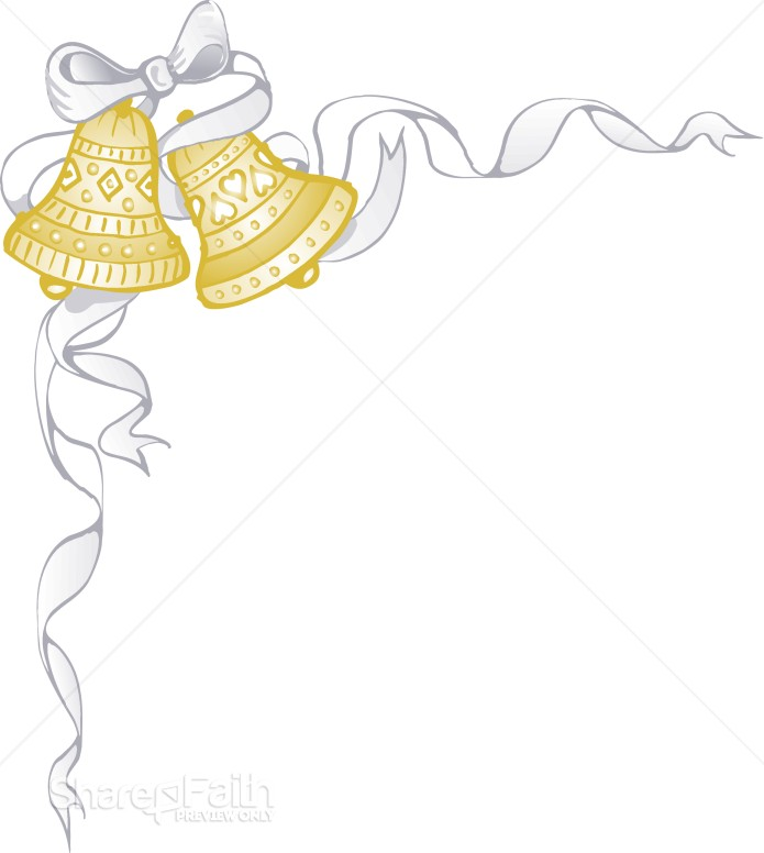 White Ribbon Wraps Around Golden Marriage Bells Christian Wedding Clipart