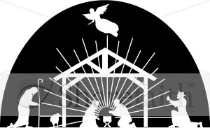 And, Nativity Scene Clipart Black And White