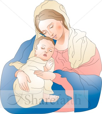 Baby Jesus Sleeps Peacefully in the Embrace of Mary